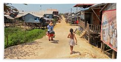 Young Girl Going Home - House On Stilts - Siem Reap, Cambodia Beach Towel