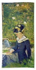 Young Woman At The Entrance Of The Bellevue Garden  Marguerite Beach Towel