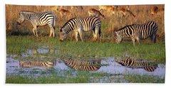 Zebras In Botswana Beach Sheet