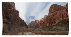 Zion National Park And Virgin River Beach Towel