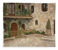 Greek Courtyard - Agiou Stefanou Monastery -balcony Fleece Blanket
