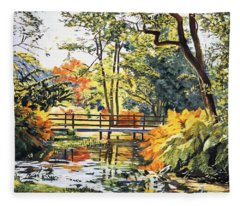 Autumn Water Bridge Fleece Blanket
