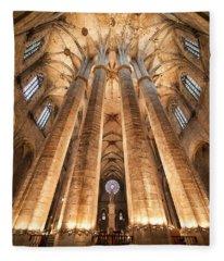 Basilica Of Santa Maria Del Mar In Barcelona Fleece Blanket