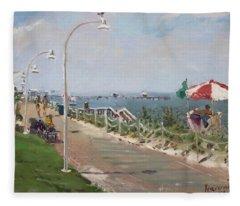 Beach Border Walk In Norfolk Va Fleece Blanket