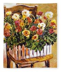 Chair Of Flowers Fleece Blanket