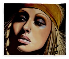 Christina Aguilera Painting Fleece Blanket