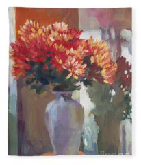 Chrysanthemums In Vase Fleece Blanket