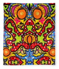 Colorful Folklore Fleece Blanket