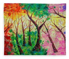 Colorful Mystical Forest Fleece Blanket