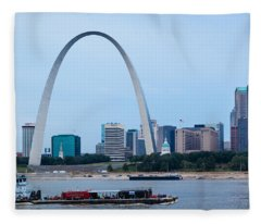 Downtown St Louis With Barge Fleece Blanket