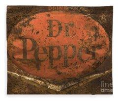 Dr Pepper Vintage Sign Fleece Blanket