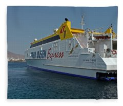 Ferry In Corralejo Harbour Fleece Blanket