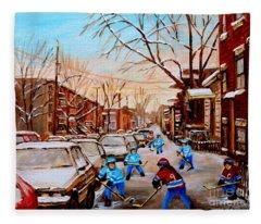Hockey Art- Verdun Street Scene - Paintings Of Montreal Fleece Blanket
