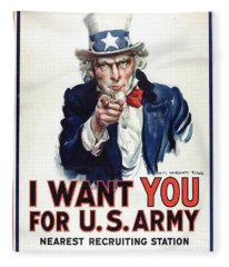 I Want You For The Us Army Recruitment Poster During World War I Fleece Blanket