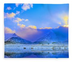 Icelandic Evanescent Light Fleece Blanket