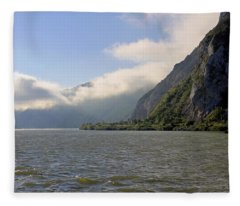 Morning Clouds On The River Danube  Fleece Blanket