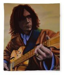 Neil Young Painting Fleece Blanket