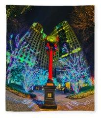 Nightlife Around Charlotte During Christmas Fleece Blanket