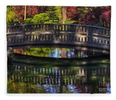 Nishinomiya Japanese Garden - Bridge Over Kiri Pond Fleece Blanket