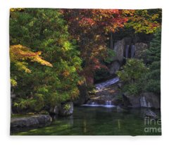Nishinomiya Japanese Garden - Waterfall Fleece Blanket