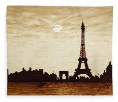 Paris Under Moonlight Silhouette France Fleece Blanket