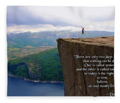 Preikestolen Pulpit Rock Norway Dalai Lama Quote  Fleece Blanket