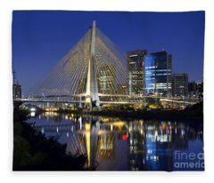 Sao Paulo's Iconic Cable-stayed Bridge And Its Reflex Over Pinh Fleece Blanket