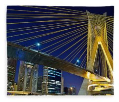Sao Paulo's Iconic Cable-stayed Bridge  Fleece Blanket