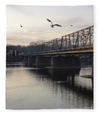 Gulls At The Bridge In January Fleece Blanket