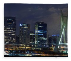 Supermoon In Sao Paulo - Brazil Skyline Fleece Blanket