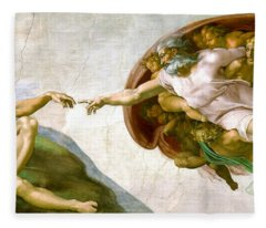 The Creation Of Adam Fleece Blanket