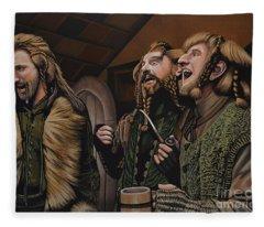 The Hobbit And The Dwarves Fleece Blanket