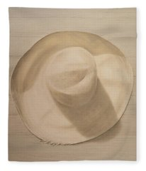 Travelling Hat On Dusty Table Fleece Blanket