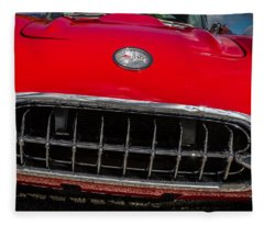 1958 Chevrolet Corvette Grille Fleece Blanket