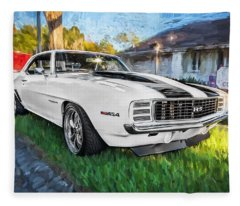 1969 Chevy Camaro Rs Painted  Fleece Blanket