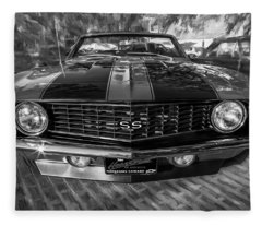 1969 Chevy Camaro Ss Painted Bw Fleece Blanket
