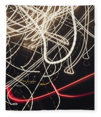 Abstract Light Trails In Speed And Motion On Black Fleece Blanket