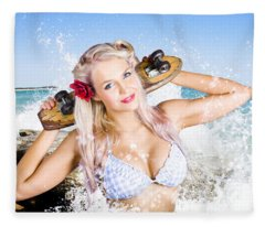 Active Sexy Summer Beach Babe With Skateboard Fleece Blanket