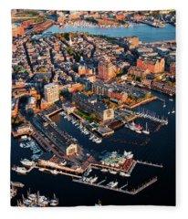 Aerial Morning View Of Harbor Fleece Blanket