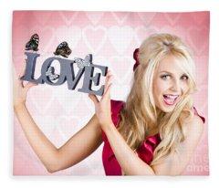 Affectionate Blonde Woman With Love Butterflies Fleece Blanket