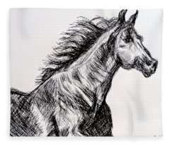 Arabian Horse Fleece Blanket