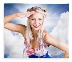 Australian Navy Girl Saluting Australia Day Fleece Blanket