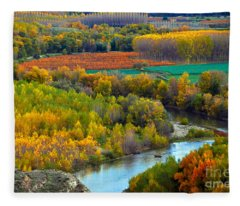 Autumn Colors On The Ebro River Fleece Blanket
