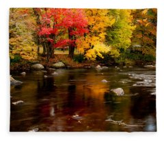 Autumn Colors Reflected Fleece Blanket