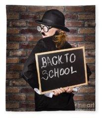 Back To School Teacher Holding Blackboard And Chalk Fleece Blanket