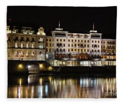 Basel By Night - Grand Hotel Les Trois Rois Fleece Blanket