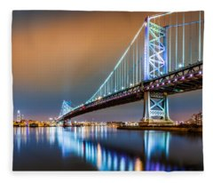Ben Franklin Bridge And Philadelphia Skyline By Night Fleece Blanket