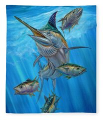 Black Marlin And Albacore Fleece Blanket