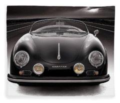 Black Porsche Speedster Fleece Blanket
