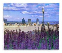 Blooming Flowers With City Skyline Fleece Blanket